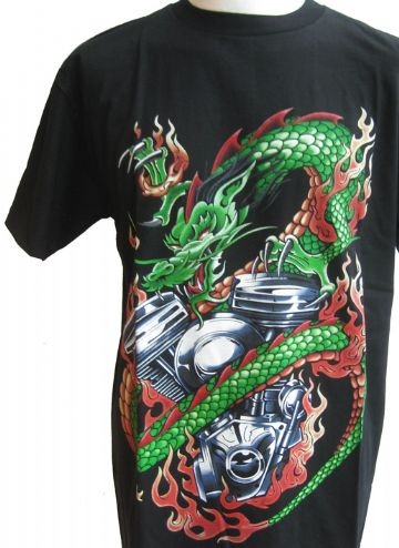 Green Dragon Wrapped Around Motorbike Engine T Shirt With Large Back Print